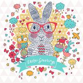 image of owls  - Stunning Easter card in vector - JPG