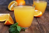 picture of orange-juice  - Glasses of orange juice with oranges on wooden table close up - JPG