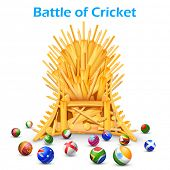 stock photo of throne  - illustration of cricket bat throne with different participating countries - JPG