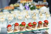 stock photo of catering service  - catering services background with snacks on guests table in restaurant at event party - JPG