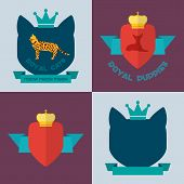stock photo of spotted dog  - Royal bengal cat and toy terrier dog badges - JPG
