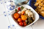 stock photo of pickled vegetables  - Pickled vegetables in white bowl closeup shot - JPG
