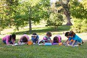 stock photo of homework  - School children doing homework on grass on a sunny day - JPG