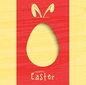 picture of bunny ears  - Creative greeting card design decorated with paper cut out egg and bunny ears for Happy Easter celebration - JPG