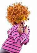 image of rock star  - Musical kid with rock image sing with wig and star shaped glasses - JPG
