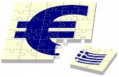 image of puzzle  - euro without Greece as jigsaw puzzle on isolated white background - JPG