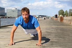 foto of cardio exercise  - Sport fitness man push - JPG