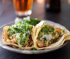 stock photo of shell-fishes  - fish tacos with slaw - JPG