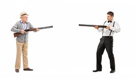 foto of shotgun  - Mature man and a young guy having a shootout with shotguns isolated on white background - JPG