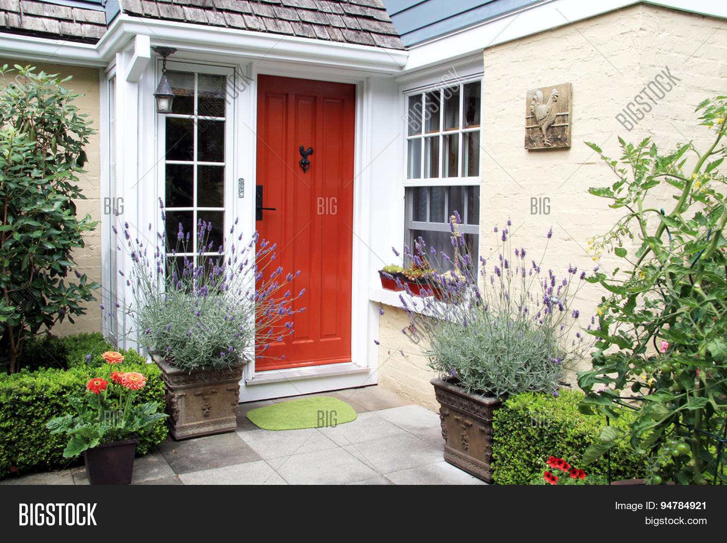 charming colorful front door entrance with blooming lavender in