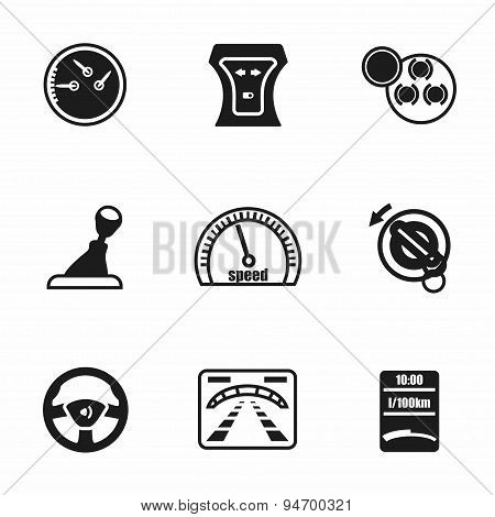 Vector Car dashboard icon set