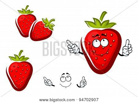 Sweet strawberry fruit with leafy cap