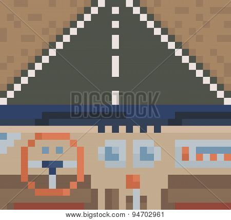 Car interior. View from inside of the car. vector pixel art illustration