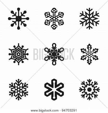 Vector Snowflake icon set