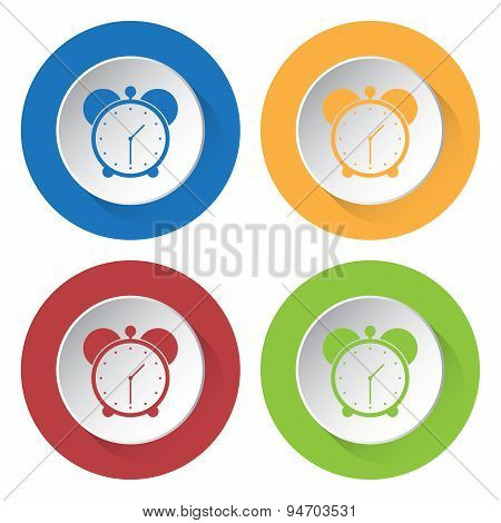 Set Of Four Icons With Alarm Clock