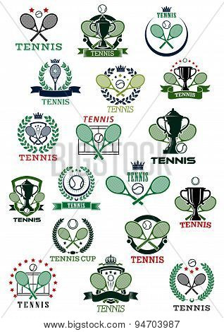 Tennis heraldic emblems with sport items