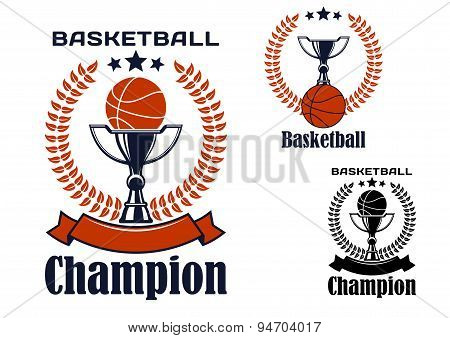Basketball champion emblems with items
