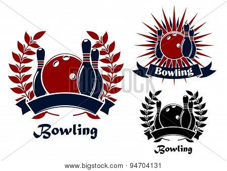 Bowling retro emblems with balls and ninepins