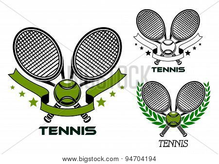 Emblems of crossed tennis rackets with balls