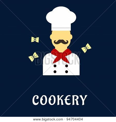 Cookery flat concept with chef in uniform