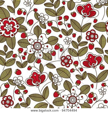 Strawberry with flowers seamless pattern