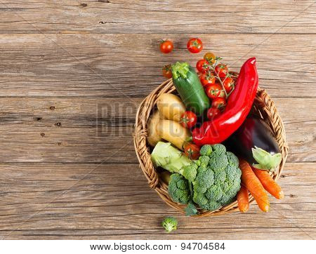 Different Vegetables In Basket, View From Above