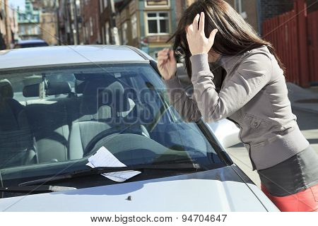 woman unhappy ticket