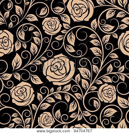 Luxury floral seamless pattern with blooming roses