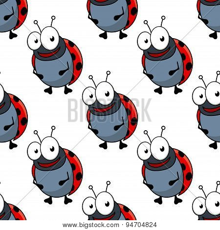 Cartoon ladybugs seamless pattern background