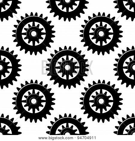 Machine gears and pinions seamless pattern