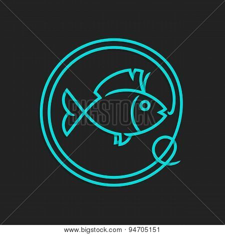 Fishing logo template - Abstract fish vector sign.