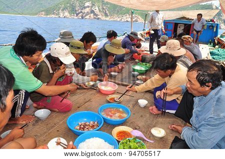 Nha Trang, Vietnam - May 4, 2012: Lunch Of Fisherman On The Tuna Fishing Boat In The Sea Of Nha Tran