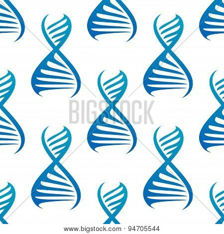 Blue DNA helices seamless pattern