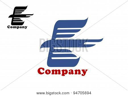 Bird abstract emblem template with flying eagle