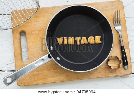 Cookie Biscuits Word Vintage In Frying Pan