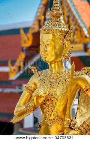 Demon Guardian at Wat Phra Kaew - the Temple of Emerald Buddha in Bangkok Thailand