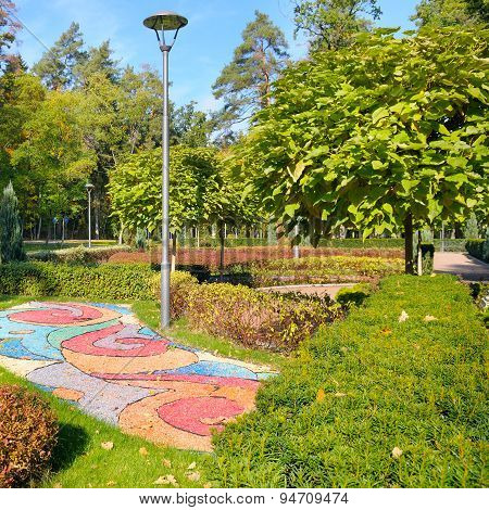 Beautiful Summer Park With Street Lamp