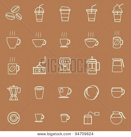 Coffee Line Icons On Brown Background