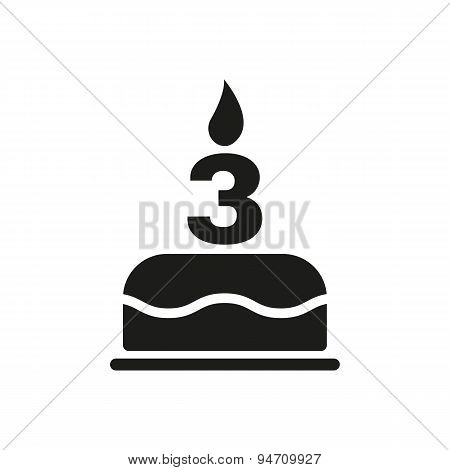 The Birthday Cake With Candles In The Form Of Number 3 Icon. Birthday Symbol. Flat