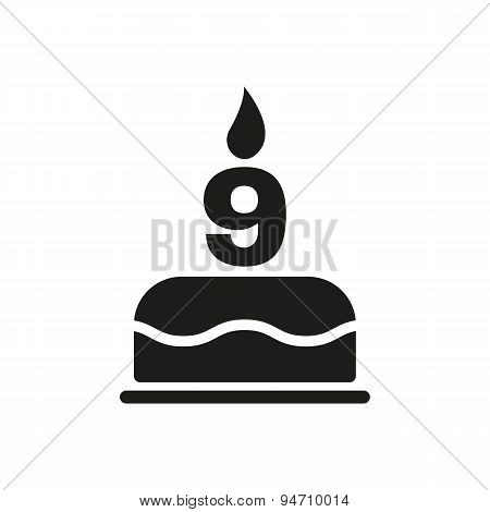 The Birthday Cake With Candles In The Form Of Number 9 Icon. Birthday Symbol. Flat