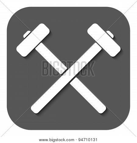 The Hammer Icon. Sledgehammer Symbol. Flat