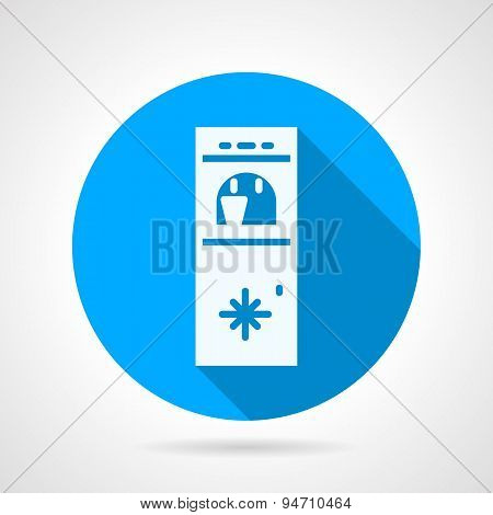 Cooler with cup blue round vector icon