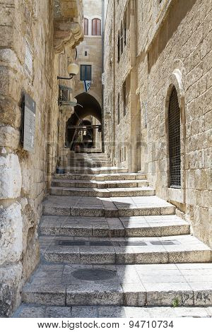 Sreet Of Jerusalem Old City Alley . Israel
