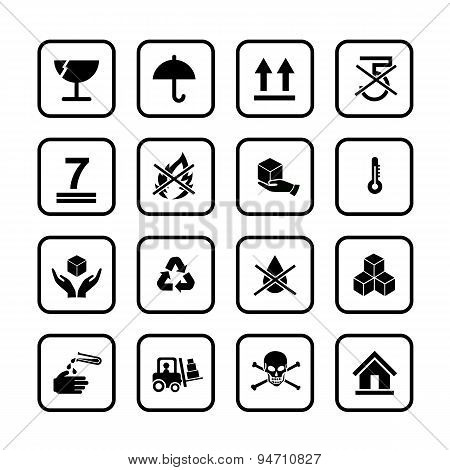 Set Of Packing Symbols Icon For Box Isolated On White Background Vector Illustration