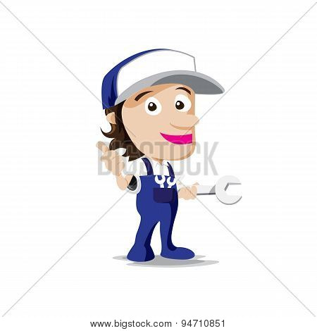 Smile Mechanic Man With Tool In Hand, Thumb Up Vector Illustration