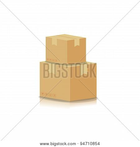 Stacking Box Isolated On White Background Vector Illustration