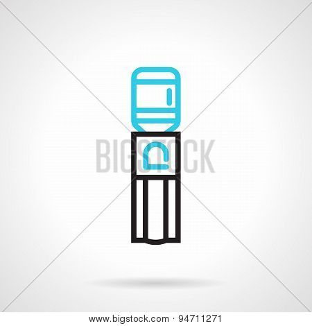 Water dispenser flat line vector icon