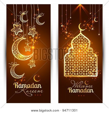 Vector Illustration Arabic Ramadan Kareem Banners