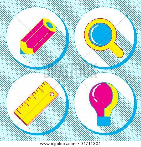 vector business concept infographic design elements in flat retro styleset of business icons with a