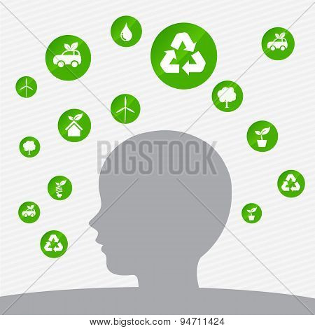 Abstract Background Ecology Concept Head Icon Element Vector Illustration